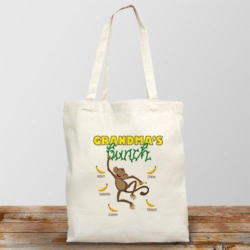 Personalized Monkey Bunch Tote Bag | Personalizable Totes