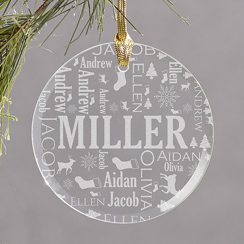 Engraved New Baby Round Glass Ornament 8107004R