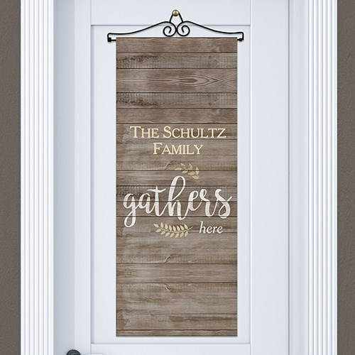Personalized Family Gathers Here Door Banner 911060915