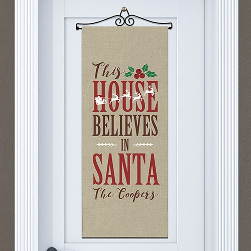 Personalized Believes In Santa Door Banner 911064615
