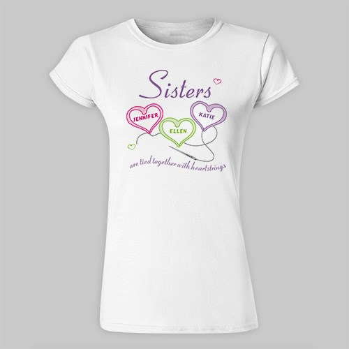Personalized Heartstrings Sisters Ladies Fitted T-Shirt 91173X
