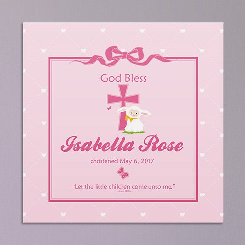 Personalized God Bless Christening Wall Canvas 9133554