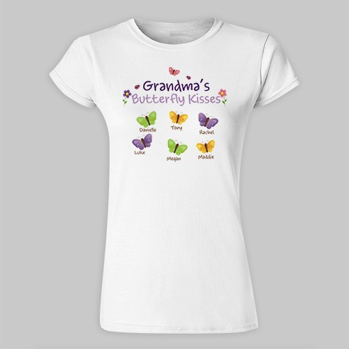 Personalized Butterfly Kisses Ladies Fitted T-Shirt 913396X