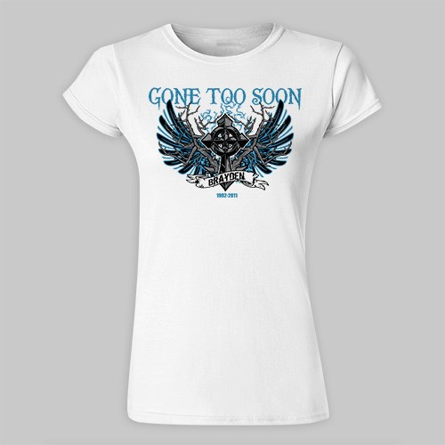 Personalized Gone Too Soon Memorial Ladies Fitted T-Shirt | Memorial Gifts