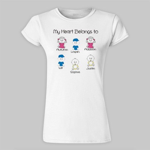 Personalized My Heart Belongs to Family Ladies Fitted T-Shirt 915939x