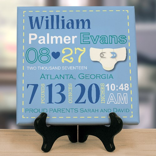 Personalized Boy Birth Announcement Canvas 9169084