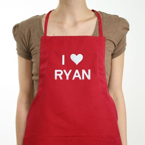 Embroidered Red I Love You Cooking Apron