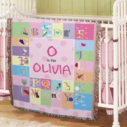Personalized Alphabet Tapestry Throw Blanket | Unique Baby Shower Gifts