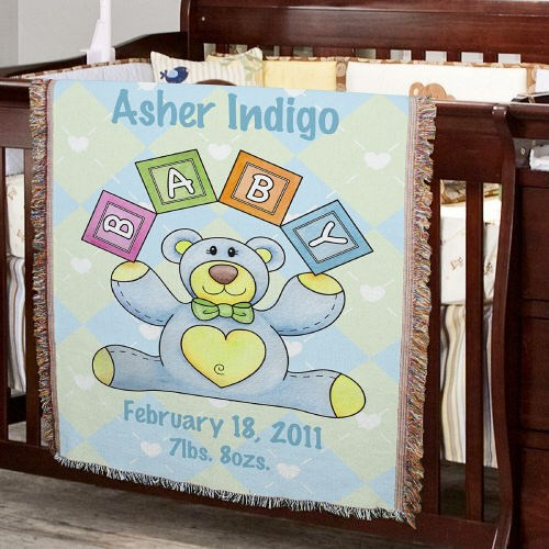Personalized Baby Boy Teddy Bear Tapestry Throw Blanket 83039825