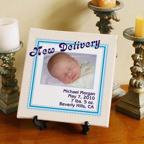 Personalized New Delivery Baby Canvas