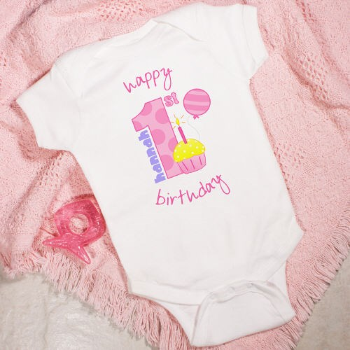 Custom Printed Baby Girl First Birthday Creeper