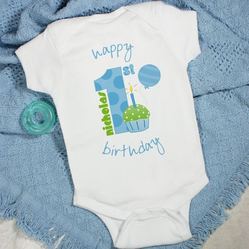 Personalized Happy Birthday Baby Boy Creeper