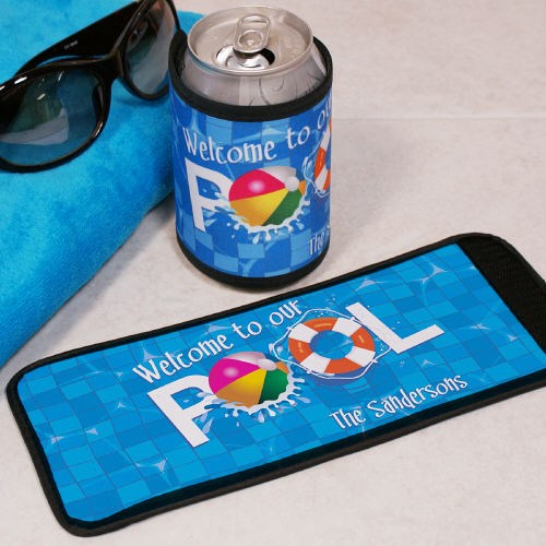Personalized Welcome to Our Pool Can Wrap Koozie 343379