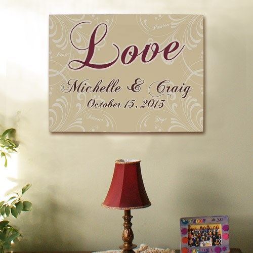 Custom Printed Wall Canvas of Love