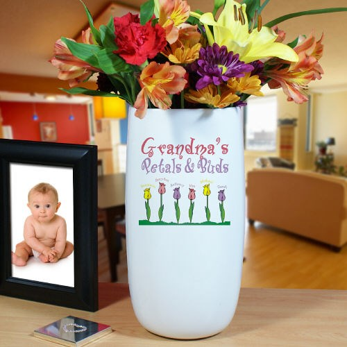 Personalized Ceramic Petals and Buds Vase U03518