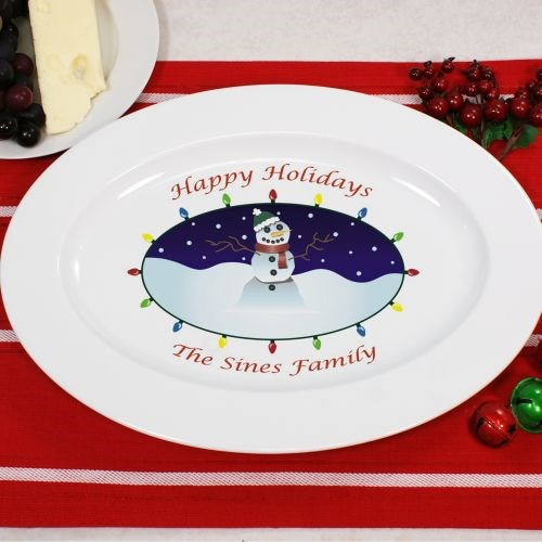 Personalized Ceramic Snowman Serving Platter U381817