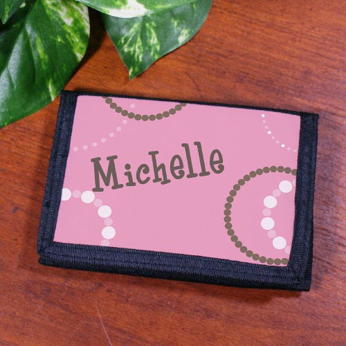 Personalized Pink Polka Dot Wallet for Her