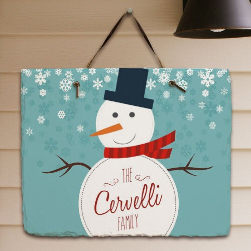 Personalized Snowman Welcome Slate Plaque 63172377
