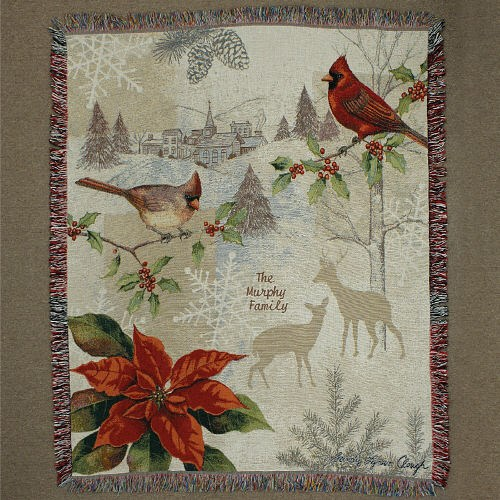 Embroidered Christmas Cardinals Tapestry Throw Blanket E46860