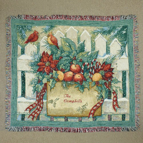 Embroidered Happy Holidays Tapestry Throw Blanket E46870
