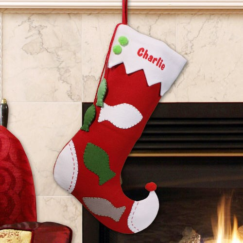 Embroidered Pet Christmas Stocking - Fish Design S57099
