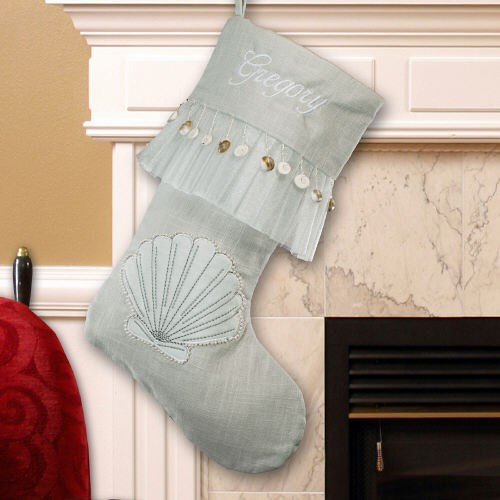 Embroidered Seashell Linen Christmas Stocking S65179