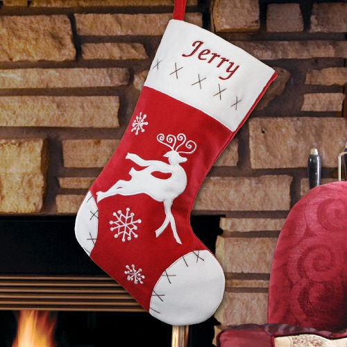 Embroidered Red Velvet Reindeer Christmas Stocking | Embroidered Christmas Stockings