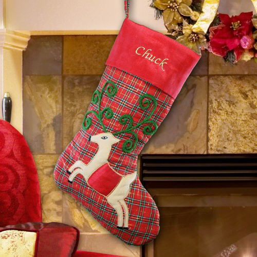 Plaid Satin Reindeer Christmas Stocking S65299