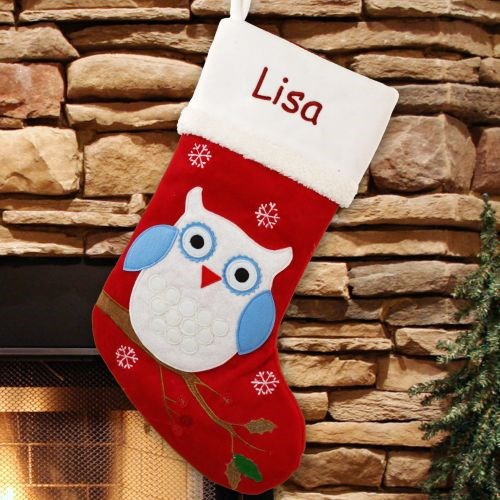 Embroidered Owl Christmas Stocking S74969