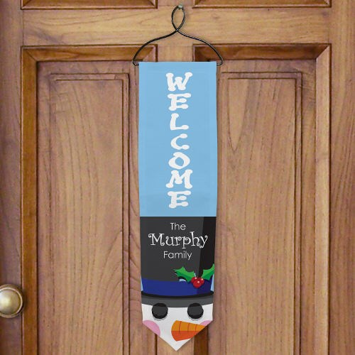 Personalized Snowman Welcome Christmas Banner U489328