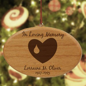 Engraved Forever In Our Hearts Memorial Wooden Oval Ornament W20202