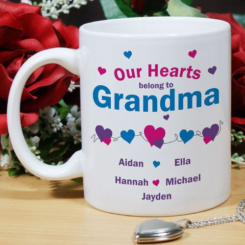 Personalized Heart Coffee Mug for Grandma