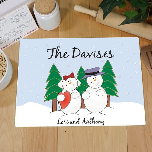 Snowman Family Kitchen Personalized Cutting Board