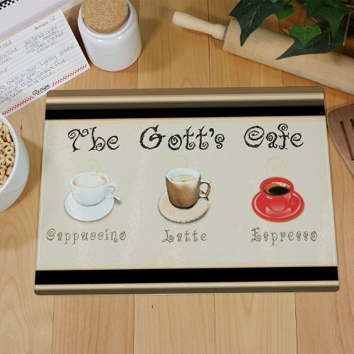 Personalized Cafe Kitchen Glass Cutting Board 63127983