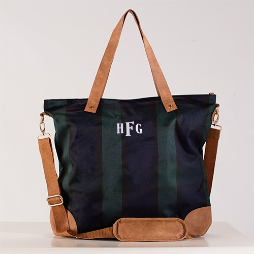 Embroidered Navy and Green Plaid Shoulder Bag E10854303