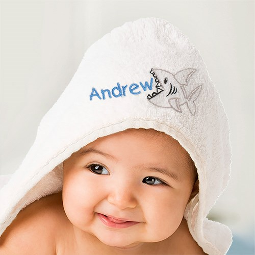 Embroidered Baby Towel with Shark