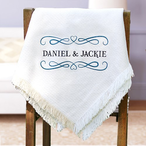 Embroidered Couples Afghan Throw E7763147