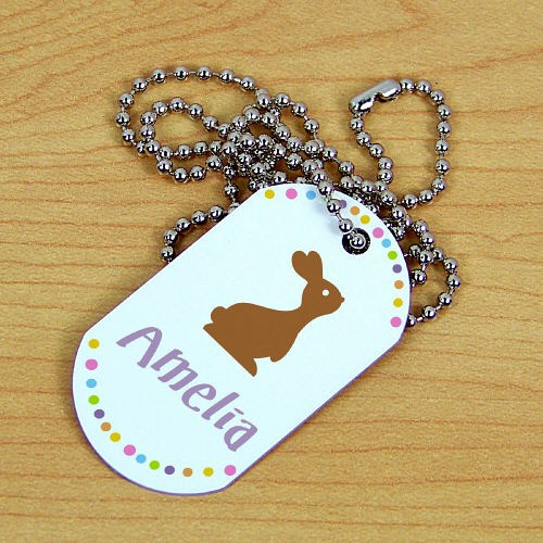 Personalized Chocolate Bunny Dog Tag 374811