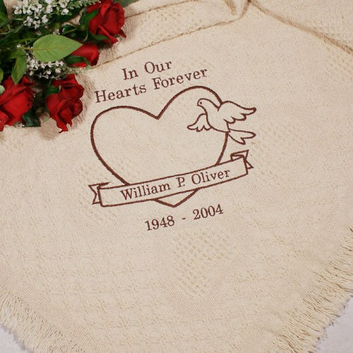 Personalized In Our Hearts Memorial Afghan in Brown