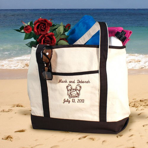 Personalized Honeymoon Couple Beach Tote Bag