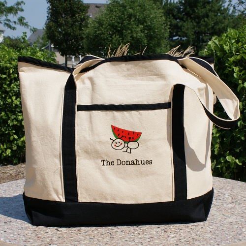 Embroidered Family Canvas Tote Bag
