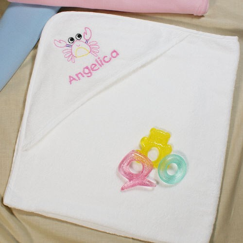 Embroidered Crab Hooded Beach Towel for Babies