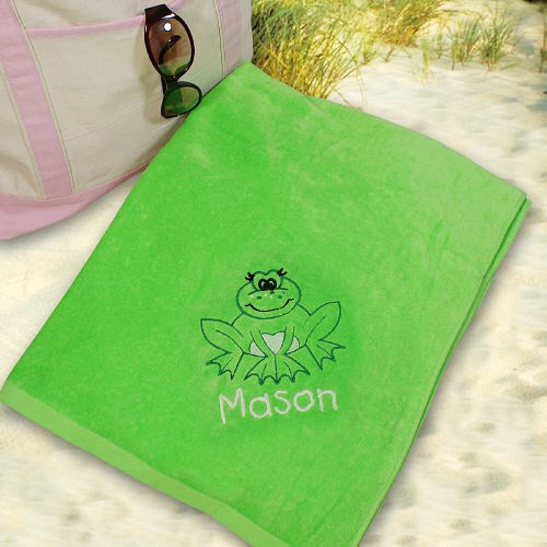 Embroidered Frog Blue Beach Towel E443451BL