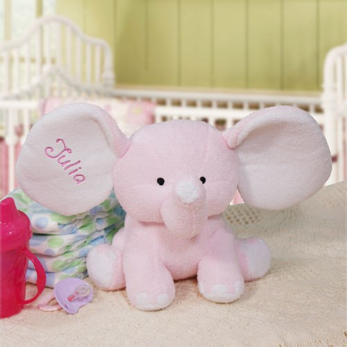 Embroidered Pink Plush Elephant | Baby Gifts For Girls