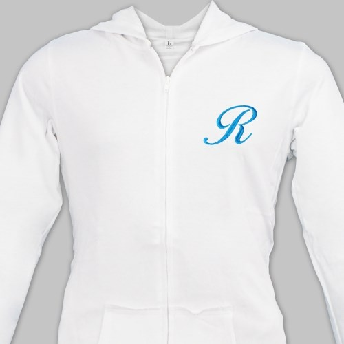 Embroidered Initial Ladies Zip Hoodie E7633126X
