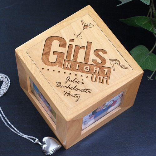 Engraved Girls Night Out Wooden Photo Cube 422644