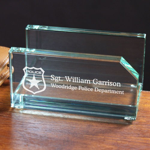 Engraved Police Officer Business Card Holder