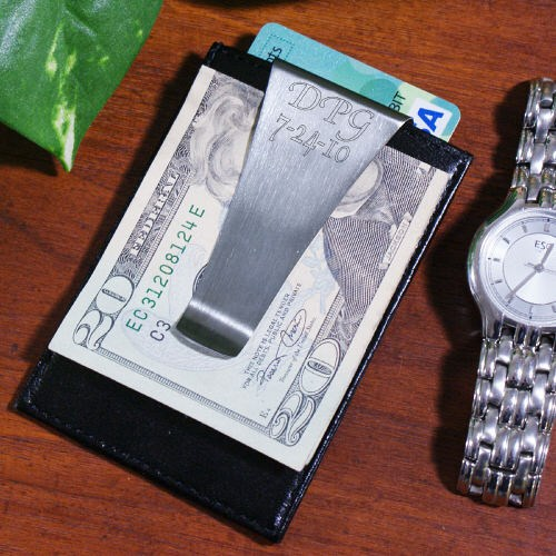 Personalized Leather Money Clip with Initials