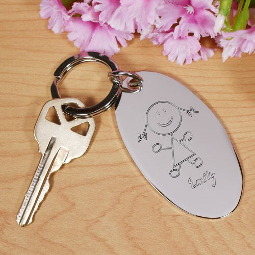 Engraved Stick Figure Keychain