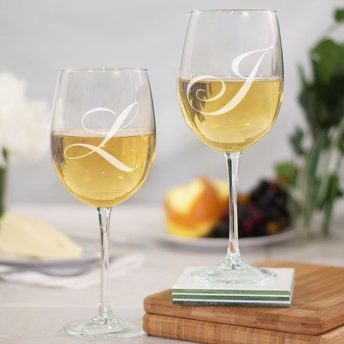 Engraved Couples Initials Wine Goblets 8552460